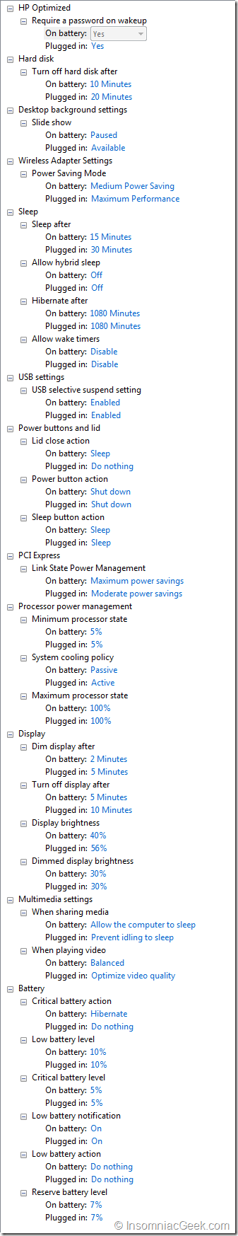 HP Optimized Power Plan