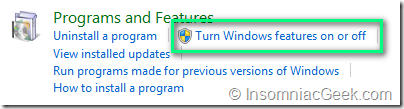 Control Panel, Programs and Features, Turn Windows features on or off