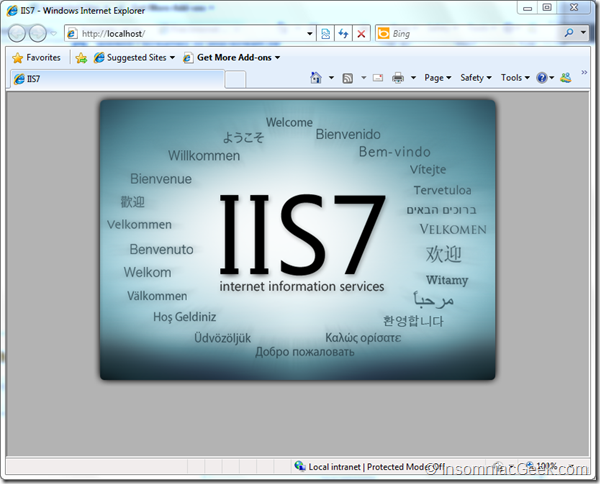 Showing the IIS logo
