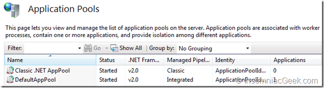 .NET Framework v2 application pools