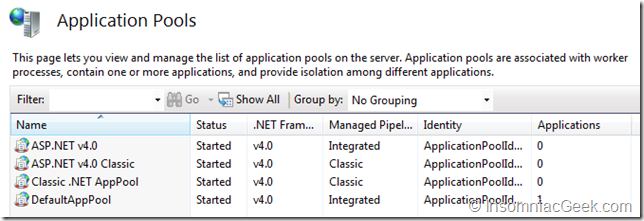 .NET Framework v4 application pools