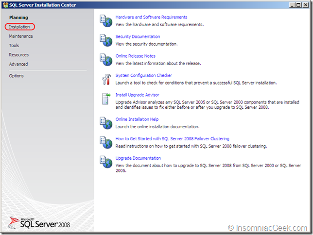 Screenshot of the SQL Server Installation Center