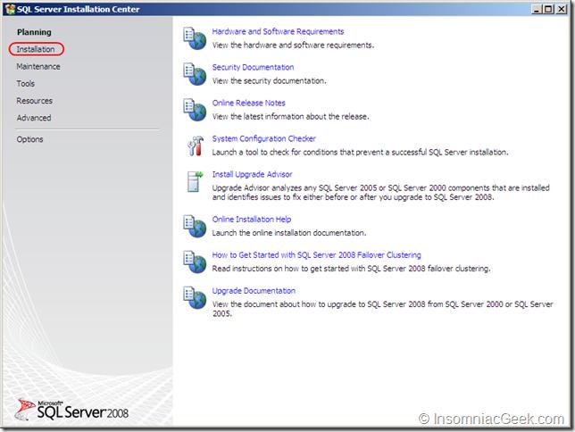 Screenshot of the SQL Server Installation Center