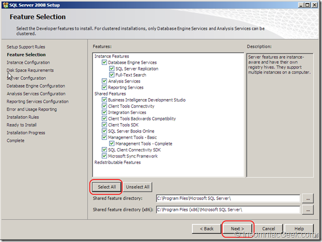 Screenshot  of the Feature Selection dialog