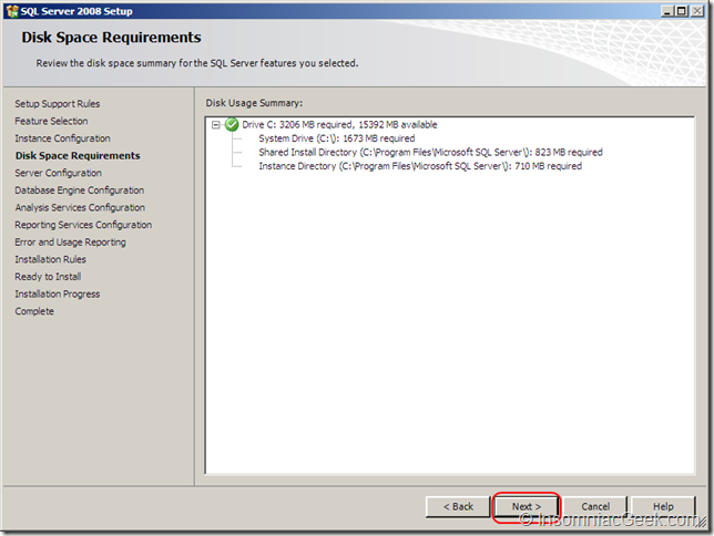 Screenshot of the Disk Space Requirements dialog