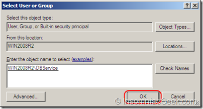 Screenshot of the user account selection dialog