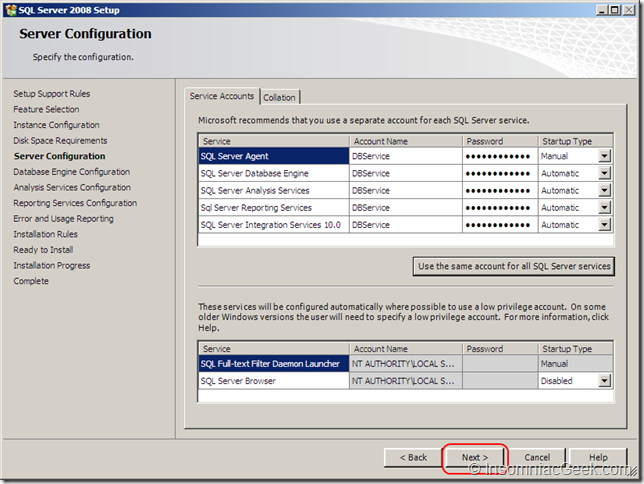 Screenshot of the Server Configuration dialog