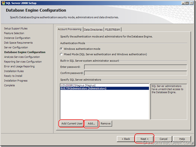 Screenshot of the Database Enginge Configuration dialog