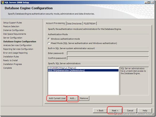 Screenshot of the Database Enginge Configuration dialog