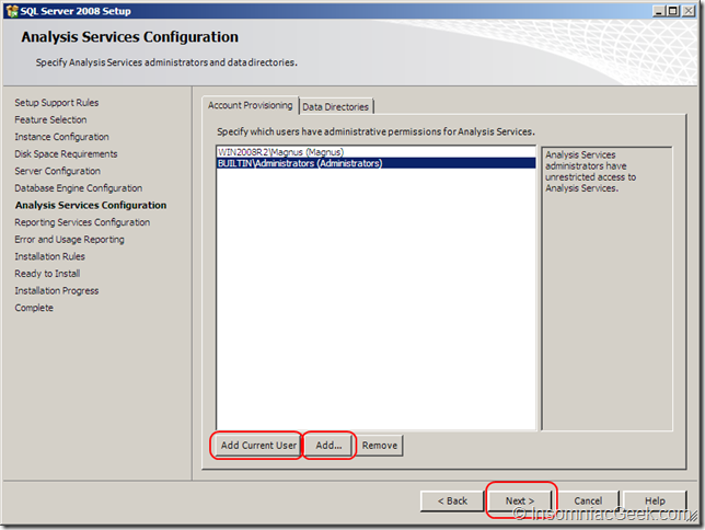 Screenshot of the Analysis Services Configuration dialog