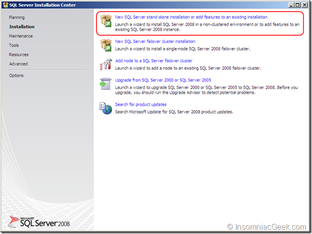 Screenshot of selecting the New SQL Server installation
