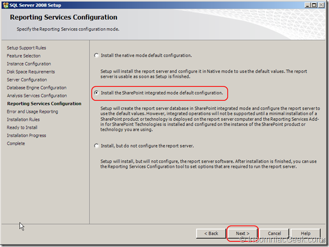 Screenshot of the Reporting Services Configuration dialog