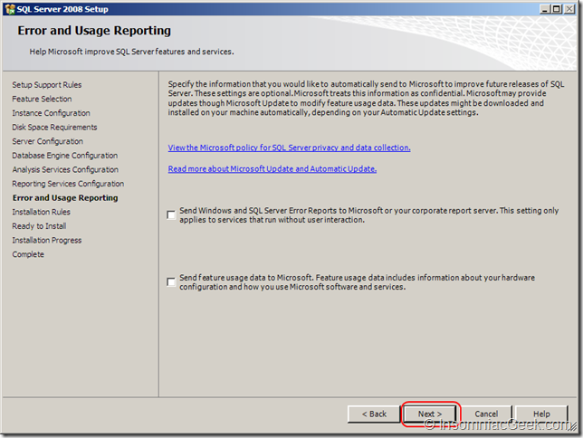 Screenshot of the Error and Usage Reporting dialog