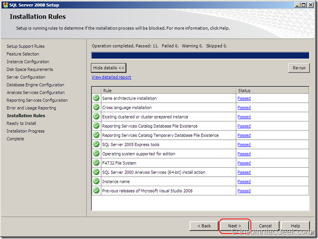 Screenshot of the Installation Rules dialog