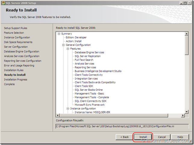 Screenshot of the Ready to Install dialog