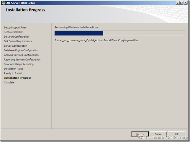 Screenshot of the Installation Progress dialog