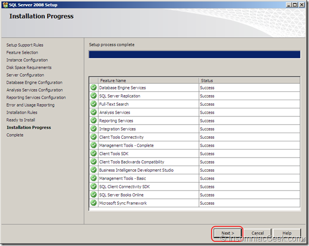 Screenshot of the Installation Progress dialog