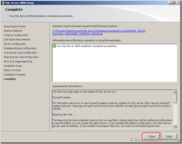 Screenshot of the Installation Completed dialgo