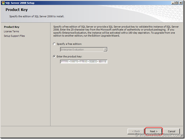 Screenshot of the Product Key dialog
