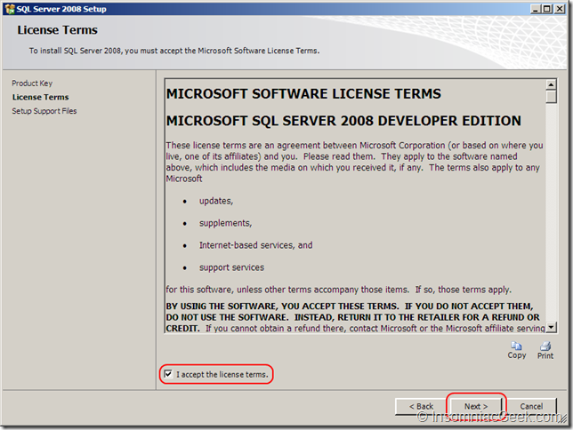 Screenshot of the License Terms dialog