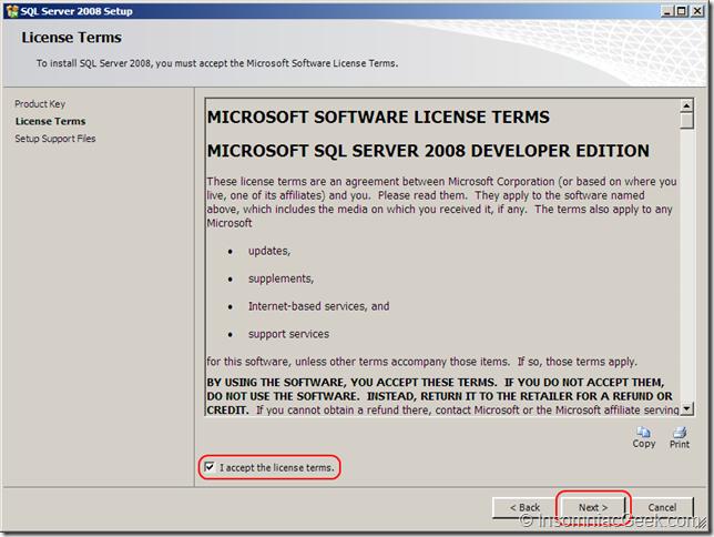 Screenshot of the License Terms dialog