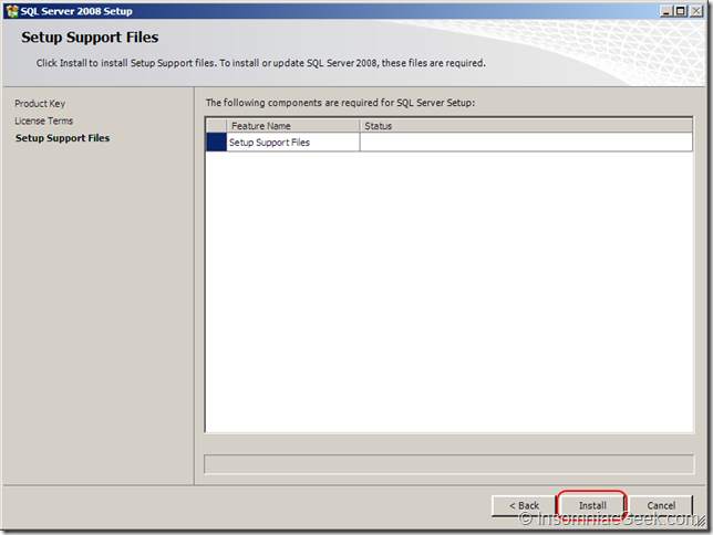 Screenshot of the Setup Support Files dialog
