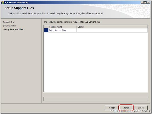 Screenshot of the Setup Support Files dialog