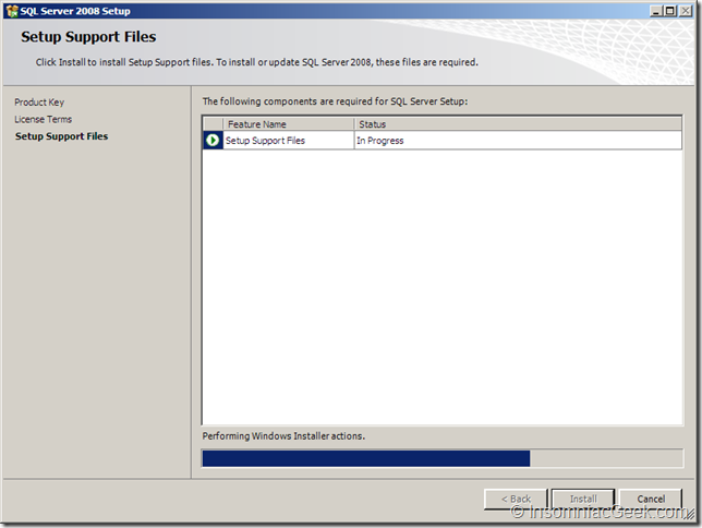 Screenshot of the Setup Support Files in Progress dialog