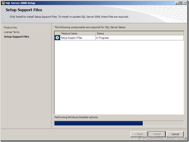 Screenshot of the Setup Support Files in Progress dialog