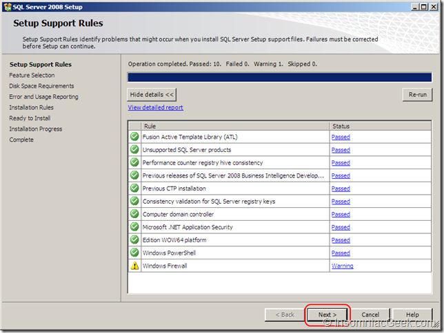 Screenshot of the Setup Support Rules dialog