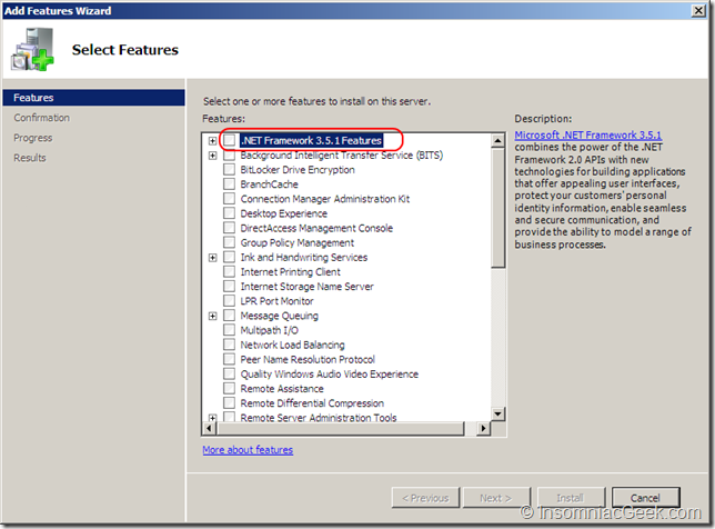 Select .NET Framework 3.5.1 Features in the Add Features dialog