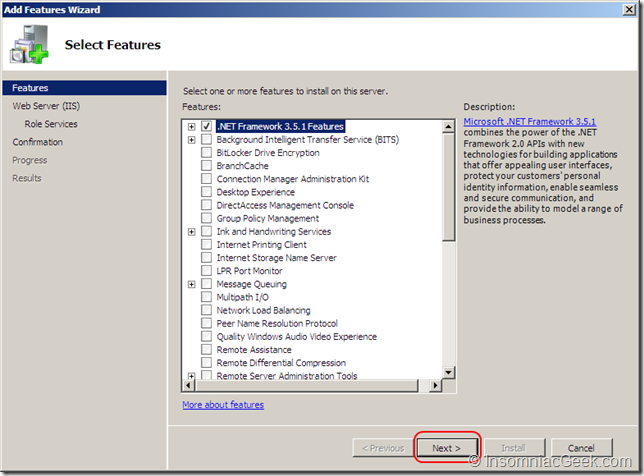 .NET Framework 3.5.1 Features selected.