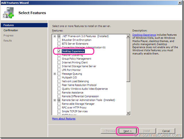 Image showing the Desktop Experience checkbox
