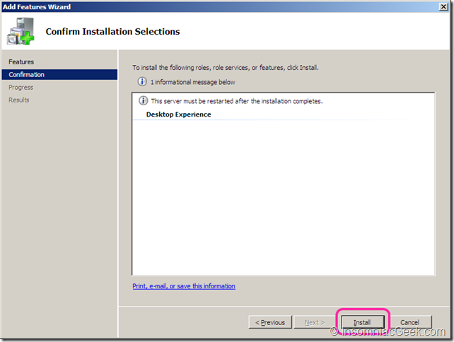 Image showing the Install procedure of the Desktop Experience